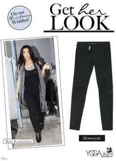 This weekend, be boldly beautiful in biker chic fashion! Get Kim Kardashian's fierce look with Black Motorcycle Yoga Jeans!