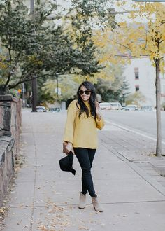 I love the mustard yellow color of this sweater for fall