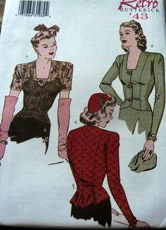 RARE 1940s BLOUSE BUTTERICK RETRO SEWING PATTERN 12-14-16 UC in Women | eBay