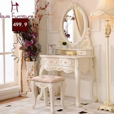 Apr 2020 - Online Shop Luxury French style Pricess dresser makeup dressing table with mirror vanity set Shabby Chic Spiegel, Shabby Chic Zimmer, Shabby Chic Mirror, Shabby Chic Decor, Makeup Dressing Table, Dressing Table Mirror, My New Room, My Room, Decoration Baroque