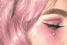 Photography of an adorable woman's face, with pink hair and pink aesthetic makeup.