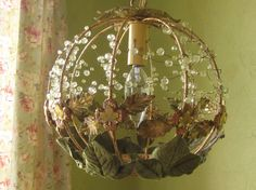 Hanging Woodland Tole Lamp Beaded Green by queendecor on Etsy, $200.00
