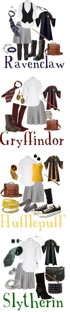 If Hogwarts' dress code was a little more lenient...requiring the gray skirt, white shirt, House robes & tie, but allowing you to do anything else with it. I'm a Ravenclaw, but my fashion choices for each House. Made by little ol' me on Polyvore. :)