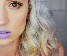 purple lips, purple, white hair, maquillaje, makeup