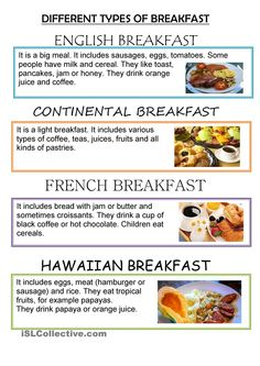 The idea of this worksheet is to work with the topic of food. Maybe you can also work with culture, or other topics involved. You can use it for a reading comprehension. Healthy Breakfast Snacks, Breakfast Menu, Breakfast Time, Breakfast Ideas, Welsh Recipes, British Recipes, Breakfast Around The World, Greek Dinners, Brunch