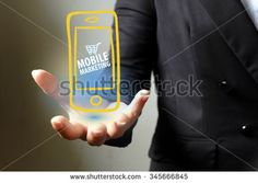mobile marketing concept  with  icons on hand , business concept , business idea