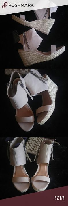 Nwt Tasseled & Caged wedge Brand new never worn. 3.75 inch heel. Beige/mushroom color. Pairs well with jeans, dress or just about anything. Super cute. Don't miss out DV by Dolce Vita Shoes Wedges