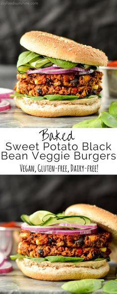 Baked Sweet Potato Black Bean Veggie Burgers