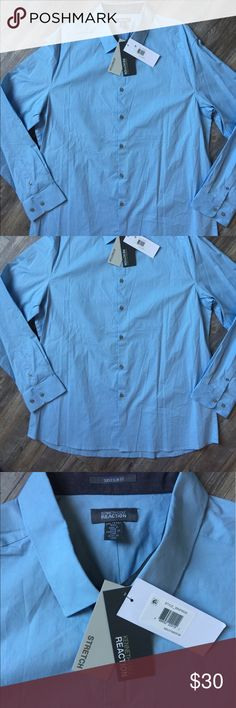 New Kenneth Cole Reaction  Men's shirt New with tags. Super Slim Fit solid blue long sleeve men's shirt from Kennet Cole Reaction. 97% Cotton. 3% Spandex. Fits XL & XXL Kenneth Cole Reaction Shirts Casual Button Down Shirts