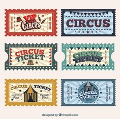 Circus tickets in retro style Free Vector Circus Birthday, Circus Theme, Vintage Circus, Vintage Party, Circus Tickets, Ticket Design, Miniature Crafts, Printable Stickers, Journal Cards