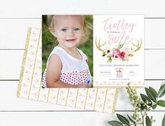 Photo Birthday Invitations, Birthday Cards, Pink And Gold, Blush Pink, Tribal Theme, Antlers, Girl Birthday, Printables, Rustic