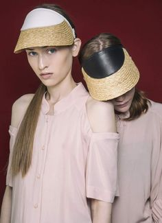 Handcrafted visors in raffia and leather collection Visors, Hat Making, Showroom, Hats, Unique, Leather, Collection, Fashion, Moda
