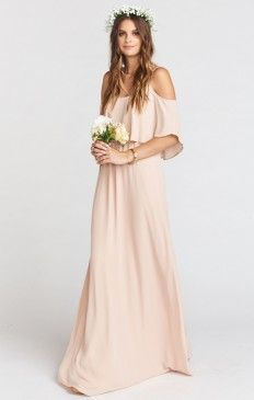 Caitlin Ruffle Maxi Dress ~ Dusty Blush Crisp.... Tons of great dresses in right color