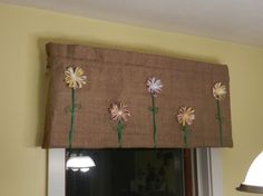 Floral Burlap Valance II / x by CraftyAmour on Etsy Burlap Valance, Beautiful Curtains, Burlap Crafts, Country Crafts, Different Patterns, Window Treatments, Shabby Chic, Crafty, Handmade Gifts