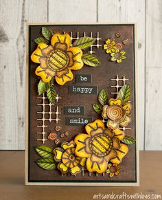 Be happy and smile! Card decorated with die-cut and coloured flowers. Lovely stamp and die set designed by Stephanie Ackerman. -by Elina Stromberg-