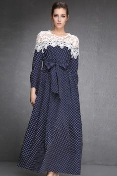 LUCLUC Purple Polka Doted Long Sleeve Dress