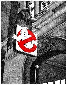 Batman watching over the Ghostbusters