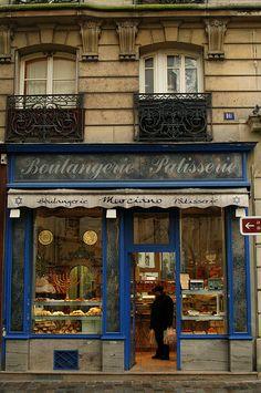 We stayed in the building next to this boulangerie in Rue des rosiers, Paris AL Paris Travel, France Travel, Travel City, Image Paris, Cute Store, Raindrops And Roses, Café Bar, I Love Paris, Shop Fronts