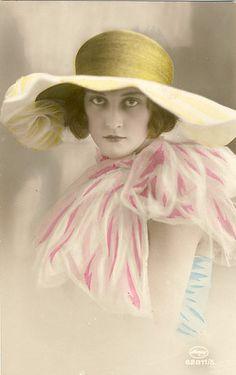 Lady -vintage postcard ~ hat lady by Sea Dream Studio, via Flickr