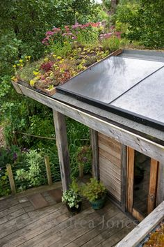 Hot-water solar panels in beautiful green roof design by Martin Gould. Photo by Andrea Jones. Shed Design, Roof Design, Country Farmhouse Exterior, Garden Pavillion, Garage Guest House, Living Roofs, Property Design, Garden Studio, Gras