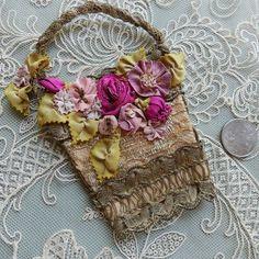 Antique French Metallic Lace Basket with Antique Metallic Silk Ribbon Work