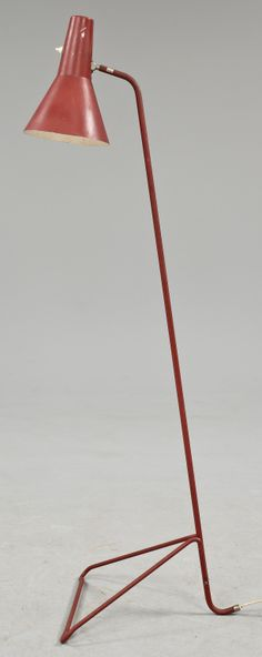 Anonymous; Enameled Metal and Brass Floor Lamp by ASEA, 1940s.