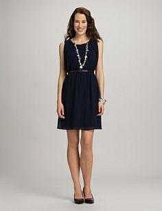 roz & ALI™ Ruched Belted Dress