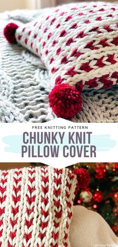Chunky Knit Pillow Cover Free Knitting Pattern Creamy white coupled with deep burgundy red – the ultimate Christmas classic. What more can we dream of at the end of December? With these comfy pillows, you are going to dream every night away. Knitted Cushion Pattern, Knitted Cushion Covers, Cushion Cover Pattern, Knitted Cushions, Knitted Blankets, Chunky Knitting Patterns, Free Knitting, Knitting Ideas, Crochet Patterns