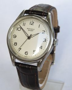 Vintage Watches Collection : Antiques Atlas - Gents Movado Sport Wrist Watch - Watches Topia - Watches: Best Lists, Trends & the Latest Styles Rolex Watches For Men, Old Watches, Vintage Watches For Men, Luxury Watches For Men, Mens Wrist Watches, Nice Watches, Tissot Mens Watch, Vintage Omega, 1950s