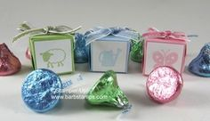 Did you know that the Petal Card Punch can be used to create a tiny 1 square box?   I was able to put two Hersheys Kisses in each box before wrapping it with our new 3/8 Striped Organdy Ribbon.