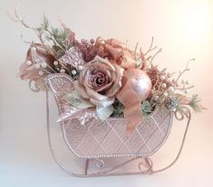 Rose Gold Blush Pink Champagne Christmas Sleigh Table Centerpiece w/ Poinsettias, Roses, Pearls, & Ornaments Rose Gold Christmas Decorations, Christmas Table Centerpieces, Pink Christmas Tree, Shabby Chic Christmas, Victorian Christmas, Xmas Decorations, Christmas Wreaths, Christmas Villages, Vintage Christmas