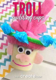 Our Trolls Pudding Cups for Kids brings happiness to a whole new level. A perfect birthday party dessert idea! Quick Crafts, Crafts For Kids To Make, Kids Crafts, Fun Snacks For Kids, Fun Activities For Kids, Kid Snacks, Trolls, Movie Crafts, Birthday Party Desserts