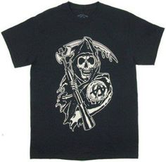 Price: $14.99 - $16.85 Sons of Anarchy SOA Bold Reaper Logo Biker T-Shirt From Sons of Anarchy https://www.facebook.com/photo.php?fbid=132282303624328=a.115237391995486.1073741828.115224581996767=1
