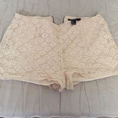 Lace dress shorts Lace dress shorts with zipper on the back. Brand new condition. Worn once. Forever 21 Shorts