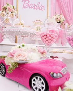 Barbie car floral arrangement from a Pink Glam Barbie Birthday Party on Kara's Party Ideas Barbie Party Decorations, Barbie Theme Party, Barbie Birthday Party, 4th Birthday Parties, 5th Birthday, Birthday Ideas, Little Girl Birthday, Bday Girl, Bolo Barbie