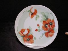 PT Bavaria Red Orange Poppies Hand Painted Decorator Plate