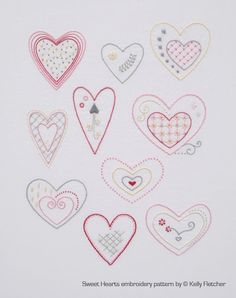 Sweet Hearts modern hand embroidery pattern - modern embroidery PDF pattern, digital download by KFNeedleworkDesign on Etsy https://www.etsy.com/listing/162461949/sweet-hearts-modern-hand-embroidery