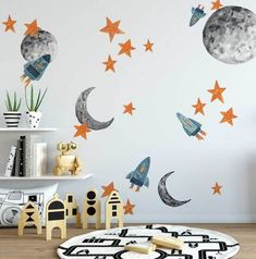 Browse wall decals for baby rooms, nurseries, playrooms, toddler and children's rooms at Project Nursery. Our wall stickers for the nursery come in many styles. Project Nursery, Nursery Decor, Wall Decor Kids Room, Toddler Boy Room Decor, Kid Spaces, Textured Walls, Diy Home, Home Decor, Wall Colors