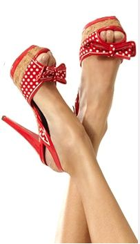 Red w/white polka dot heels