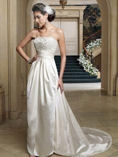 Strapless Satin Tulip Slit Skirt Bridal Dress Renesmee David Tutera Mon Cheri 212255|DimitraDesigns.com