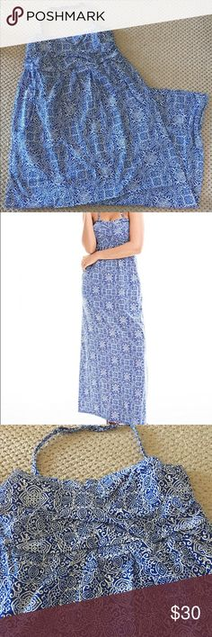 🆕 casual maxi in a gorgeous print ☀️☀️ Gorgeous blue print strapless maxi dress with removal/adjustable halter strap and minimal support.  Brand new without tags! garnet hill Dresses Maxi