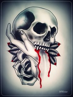 Vampire Skulls With Roses Tattoo design by Vampire Skull Tattoo Skull Hand Tattoo, Skull Tattoos, Body Art Tattoos, Hand Tattoos, Vampire Tattoo, Vampire Skull, Future Tattoos, Love Tattoos, Awesome Tattoos