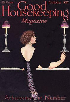 Coles Phillips : Cover art for Good Housekeeping, October 1912 Vintage Ephemera, Vintage Ads, Vintage Images, Vintage Posters, Vintage Stuff, Old Magazines, Vintage Magazines, Art Nouveau, Magazine Illustration