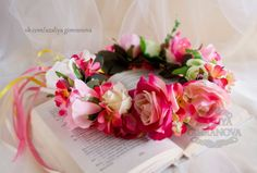 """Венок на голову """"Розовый рассвет"""" – 12 фотографий"""
