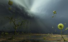 Inga nielsen digital art wallpapers - Colors of the storm, Fantasy Art Painting 9 Two Steps From Hell, Alien Plants, Weird Plants, Imagenes Hd 4k, Plant Wallpaper, Hd Wallpaper, Wallpapers, Alien Worlds, Fantasy Landscape