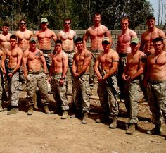 Just a couple of Marines without shirts... 0_0