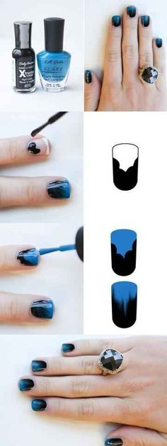 Here's an easy way to get ombre nails without having to use the messy sponge method. | 32 Easy Nail Art Hacks For The Perfect Manicure