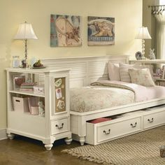 Retreat 149 Sideways Bed with Bookcase Nightstand Bedroom Collection Daybed With Drawers, Daybed With Storage, Sideways Bed, Full Size Daybed, Girls Bedroom, Bedroom Decor, Extra Bedroom, Trendy Bedroom, Bedrooms