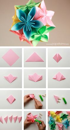 We've always wanted to build origami shapes, but it looked too hard to learn. Turns out we were wrong, we found these awesome origami shapes. Gow to assemble a flower ball 30 Tutorials Are Easy To Create Origami Discover thousands of images about DIY Instruções Origami, Origami Star Box, Origami Fish, Origami Design, Origami Stars, Origami Ball, Oragami, Paper Flowers Diy, Diy Paper