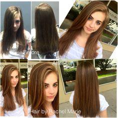 Highlights, fall color, brunette, long hair, redken.
